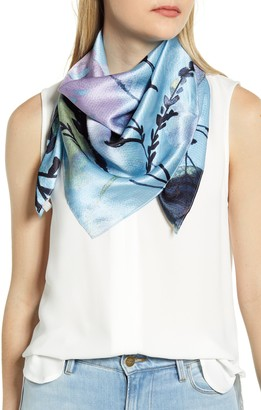 Nordstrom April Floral Print Hammered Silk Square Scarf