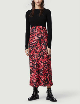 AllSaints Hera Ambient 2-in-1 cropped jumper and animal print slip dress