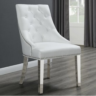 Maney Tufted Upholstered Side Chair House of Hampton Upholstery Color: White