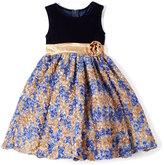 Navy & Yellow Rosette Dress - Toddler & Girls