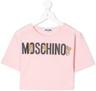 MOSCHINO BAMBINO logo cropped T-shirt