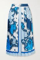 Victoria Victoria Beckham Victoria, Victoria Beckham Pleated Printed Satin-twill Midi Skirt