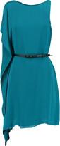 Halston Asymmetric belted crepe de chine mini dress