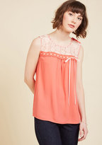 ModCloth Natural Sweetener Sleeveless Top in Coral in XXS