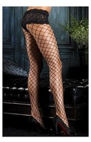 Leg Avenue Fence Net Pantyhose with Boyshort Top 1278 Black,Red