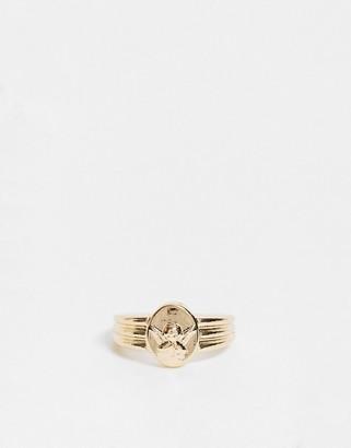 ASOS DESIGN ring with cherub in gold tone