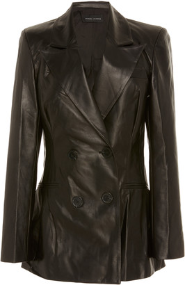 Michael Lo Sordo Relaxed Double-Breasted Leather Blazer