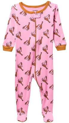 Leveret Girfaffe Footed Pajama Sleeper (Baby Girls)