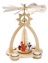 Camilla And Marc ISDD Cuckoo Clocks German christmas pyramid, height 35 cm / 14 inch, natural with tealights, original Erzgebirge by Richard Glaesser Seiffen