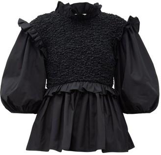 Cecilie Bahnsen Ruffled Smocked-bodice Cotton-poplin Blouse - Black