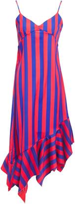 Marques Almeida Asymmetric Printed Striped Satin-crepe Midi Slip Dress
