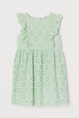 H&M Eyelet Embroidered Dress - Green
