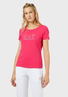Emporio Armani Ea7 Cotton Jersey T-Shirt With Rhinestone Logo