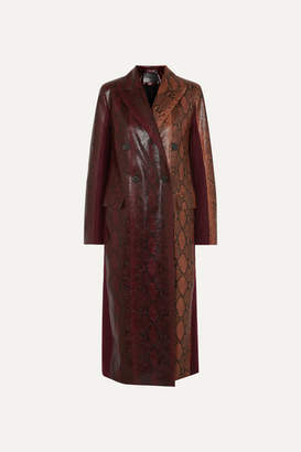 Givenchy Double-breasted Python-effect Leather And Wool-twill Coat - Burgundy