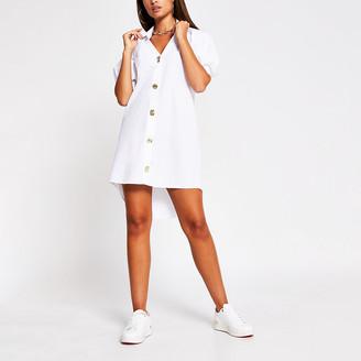 River Island White short puff sleeve mini shirt dress