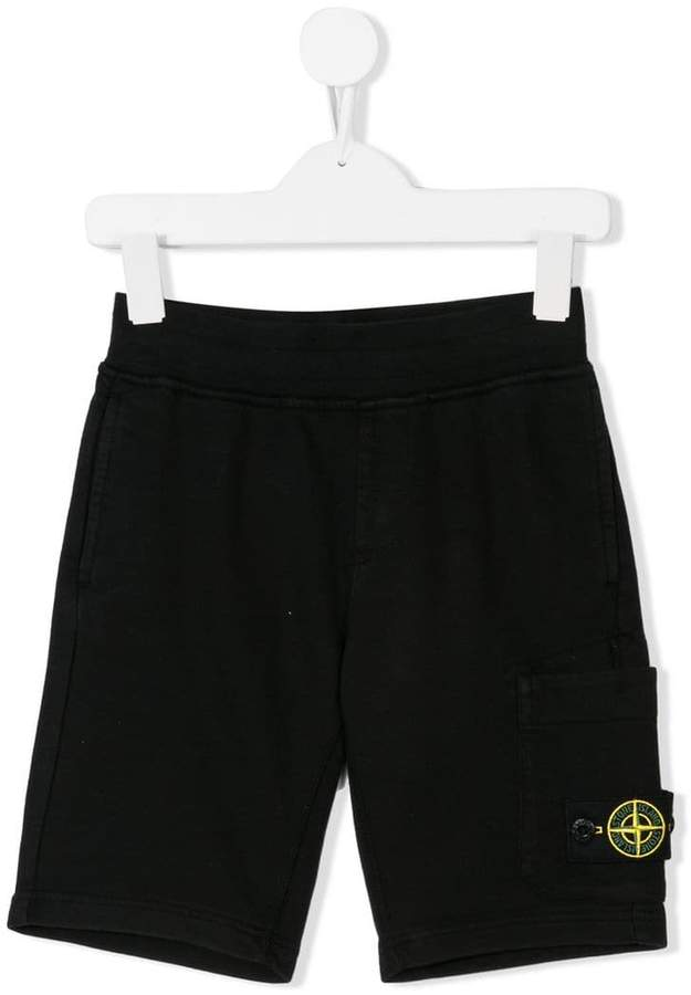 Stone Island Junior logo patch casual shorts