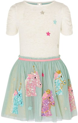 Monsoon Girls Disco Unicorn Heads Dress - Aqua