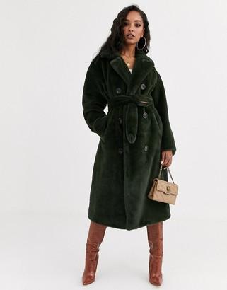 Asos DESIGN faux fur trench coat in khaki