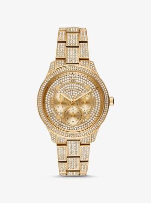 Michael Kors Runway Pave Gold-Tone Watch