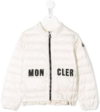 Moncler Enfant Ruffle-Hem Logo-Print Jacket