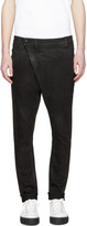R 13 Black Coated X-over Jeans