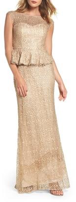La Femme Embellished Lace Peplum Gown