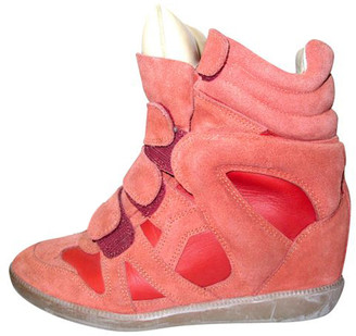 Isabel Marant Red/Pink Suede and Leather Bekett High-Top Wedge Sneakers Size 36