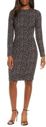 Black Halo Desoto Long Sleeve Print Sheath Dress