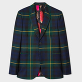 Men's Tailored-Fit Black Watch Check Wool Blazer
