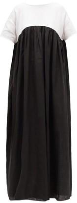 Gül Hürgel Tie-back Empire-waist Linen Maxi Dress - Womens - Black White