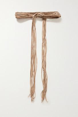 CARAVANA Balche Fringed Braided Leather Belt - Beige