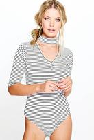 Boohoo Ruby Stripe Ribbed Cut Out Neck Bodysuit