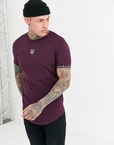 SikSilk muscle t-shirt in burgundy with baroque arm detail