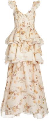 Brock Collection Floral-Print Ruffled Silk Dress