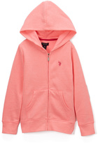 U.S. Polo Assn. Heather Neon Pink Zip-Up Hoodie - Girls