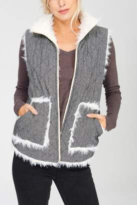 Reversible Quilted-Fur Vest