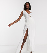 Asos DESIGN MATERNITY tie back beach maxi dress with twist front detail in white