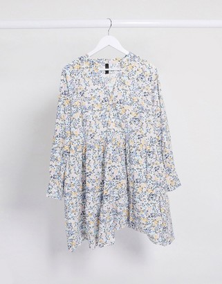Y.A.S smock dress with long sleeves in white ditsy floral