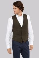 Moss Bros Tailored Fit Olive Wine Window Pane Waistcoat