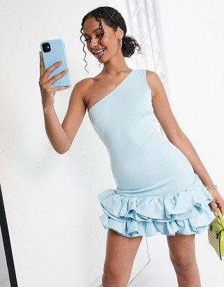 Moda Minx one shoulder ruffle skirt mini dress in baby blue