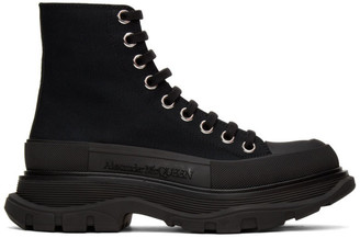 Alexander McQueen Black Tread Slick Platform High Sneakers