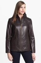 Ellen Tracy Quilt Trim Leather Jacket