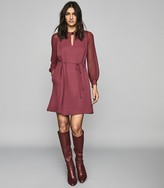 Reiss Leah - Metal Trim Mini Dress in Berry