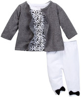 Isaac Mizrahi Print Tee, Terry Cardigan & Bow Pant Set (Baby Girls 0-9M)