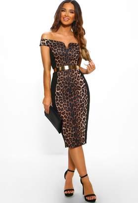 Pink Boutique Jungle Romance Multi Leopard Print Panel Bodycon Midi Dress
