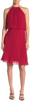 MSK Halter Neck Pleated Short Dress