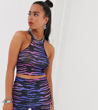 Collusion COLLUSION tiger print racer front crop top-Multi