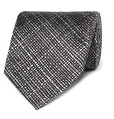 Tom Ford 8cm Checked Woven Silk Tie - Gray
