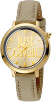 Just Cavalli 34mm Logomania Watch w/ Leather Strap, Beige