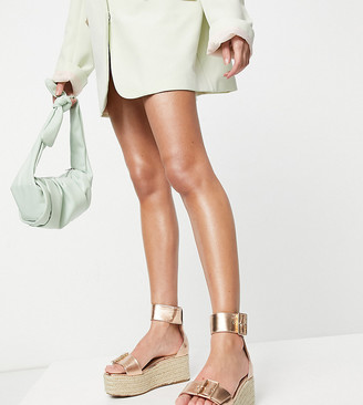 Truffle Collection Wide Fit platform buckle espadrilles in rose gold